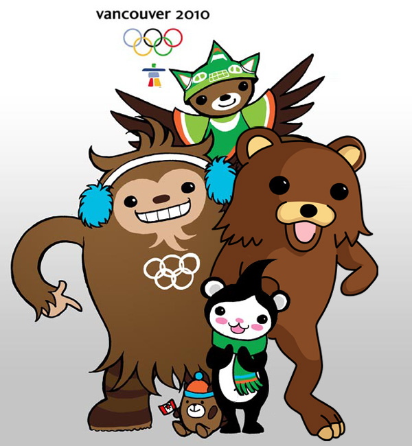 Vancouver 2010 Olympic Mascots Sumi Quatchi Miga Mukmuk Pedobear