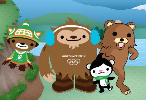 Vancouver 2010 Olympic Mascots Sumi Quatchi Miga Pedobear